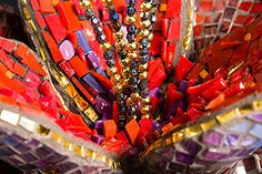 SIMPLY TULIP close up (Julee Latimer) Tags: red sculpture black flower glass gold mirror beads purple mosaic contemporary interior tulip