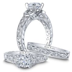 Picture of Kirk Kara hand-engraved diamond engagement ring from the Kirk Kara Dahlia collection crafted with 0.13 carats of diamonds. Style K1420DC-R