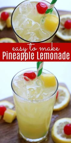 Try this Pineapple Lemonade Recipe for a refreshing Summer drink. Pineapple lemonade will quench your thirst on a hot day. Learn how to make lemonade with pineapple. It is the perfect drink for parties, BBQ's and more. Everyone will love Homemade lemonade with pineapple! #lemonade #drinks #drinkrecipes #recipes #eatingonadime