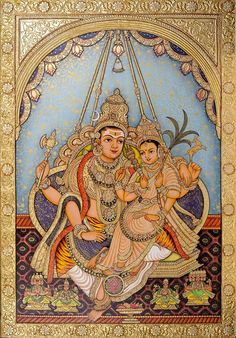 Kala Ksetram — Shiva and Parvati, Mysore painting Mysore Painting, Tanjore Painting, Krishna Painting, Indian Traditional Paintings, Indian Paintings, Ravivarma Paintings, Shiva Art, Hindu Art, Shiva Shakti