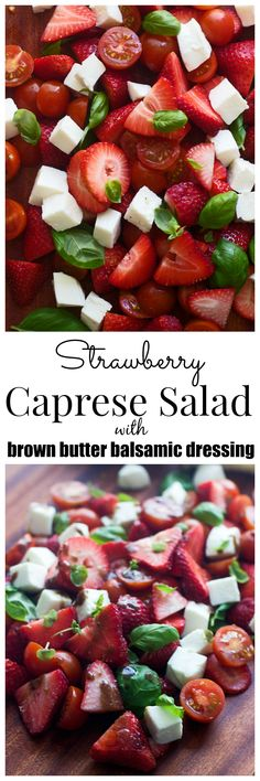 Caprese Salad with Brown Butter Balsamic Vinaigrette Strawberry Caprese Salad with Brown Butter Balsamic Vinaigrette **amazing!Strawberry Caprese Salad with Brown Butter Balsamic Vinaigrette **amazing! Tasty, Yummy Food, Cooking Recipes, Healthy Recipes, Summer Salads, Brown Butter, Soup And Salad, Caprese Salad, Summer Recipes