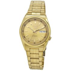 Shop for Seiko Men's Seiko 5 Gold-Tone Stainless Steel Watch. Get free delivery On EVERYTHING* Overstock - Your Online Watches Store! Gold And Silver Watch, Gold Watch, Stainless Steel Watch, Stainless Steel Bracelet, Casual Watches, Watches For Men, Seiko 5 Automatic, Seiko Men, Best Watch Brands