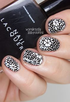 Black and White Wood Blocking Floral Nail Art