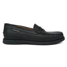 Zapato mocasín con antifaz en color negro de Mephisto. Vista lateral