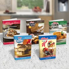 """Product # 63125 - 5 cookbooks packed with delicious recipes from your favourite Kellogg's brands! Each book contains 32 pages of recipes, 158 pages combined! Hardcover. 6"""" x 9"""" each Price: $12.98 CAD"""