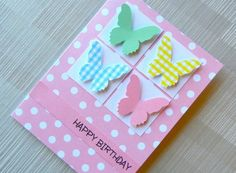 Butterfly Ornament Decor Polka Dot Pink Card Background Style Cute Homemade Birthday Card. .