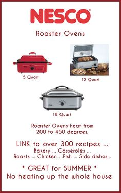 Electric Roaster Ovens - NOT only for turkey.   Link to over 300 recipes.   http://www.nesco.com/recipes/?category[]=700=Search