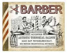 BARBER SHOP hair salon VINTAGE SIGN RETRO PLAQUE art 1