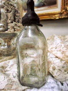 A glass baby bottle with a rubber nipple. I just love it!  http://ivyandelephants.blogspot.com/2013/07/sweet-memories.html