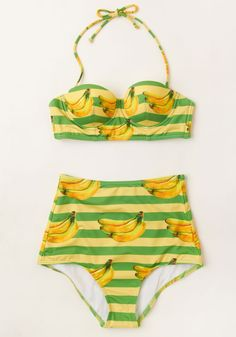 Dive for Excellence Swimsuit Top in Banana Stand. Achieving utmost awesomeness is easy with the help of this printed bikini top!  #modcloth