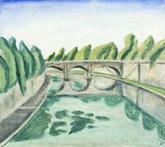 Ernest Zmeták: Most Bratislava, Facade, Milan, Modern Art, Graphic Design, Watercolor, Illustration, Artist, Painting