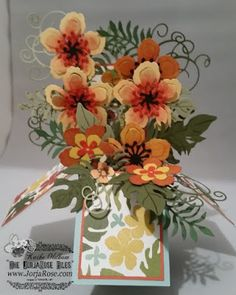 """By Jen Hassloch and Kathe Oldham form """"The JorjaRose Files"""", Stampin' Up! """"Botanical Blooms"""" stamp set, matching """"Botanical Builder"""" Framelits, and the """"Botanical Gardens"""" Designer Series Paper . Card In A Box, Pop Up Box Cards, 3d Cards, Card Boxes, Card Kit, Flower Cards, Paper Flowers, Botanical Flowers, Botanical Gardens"""