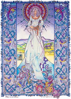 Palu the Cat Goddess by Jim Fitzpatrick. I've loved this since I first saw it about thirty years ago. I learnt a lot from doing my own black and white copy. Mr Fitzpatrick's work has also fed a lifetime love for Irish mythology
