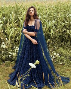 The Savanah Top in Navy x Navy Savannah Skirt x Hazey Cape in Navy [only a few left]  Available to purchase online at www.manijassal.com… Indian Bridal Outfits, Indian Designer Outfits, Designer Dresses, Dress Indian Style, Indian Dresses, Indian Reception Outfit, Bollywood Outfits, Indian Attire, Indian Wear