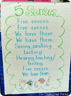 """Here's a song on the five senses sung to the tune of """"Where Is Thumbkin?"""""""