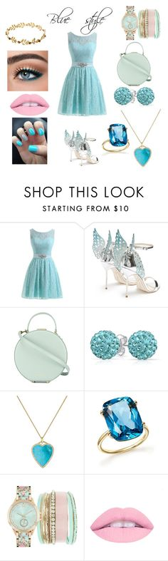 """Blue style"" by teoforever ❤ liked on Polyvore featuring beauty, Sophia Webster, Tammy & Benjamin, Bling Jewelry, Jennifer Meyer Jewelry, Bloomingdale's and Jessica Carlyle"