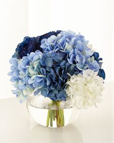 Blue Wedding Flowers Baby Blue Floral Arrangement by John-Richard Collection at Horchow. - EXCLUSIVELY OURS.Handcrafted faux floral arrangement in glass bowl. x in the USA of imported materials. Wedding Flower Guide, Blue Wedding Flowers, Floral Wedding, Navy Blue Flowers, Floral Flowers, Gerbera Wedding, Purple Hydrangeas, Hydrangea Care, Tall Flowers