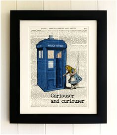 ART PRINT on old antique book page - The Tardis with Alice in Wonderland Doctor Who Vintage Wall Art Print Encyclopaedia Dictionary Page (3.99 GBP) by thebluebutterflyemp