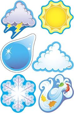 Weather Symbols Mini Accents Variety pack by Trend Enterprises Teaching Weather, Preschool Weather, Weather Activities, Outdoor Activities For Kids, Crafts For Kids, Weather Art, Weather Icons, English Activities, Class Decoration