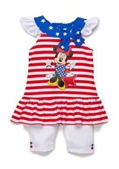 Disney  2-Piece Minnie Mouse Americana Tunic and Biker Short Set Girls