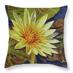 """Water Lilies 2 Throw Pillow 14"""" x 14"""" and other sizes, from watercolour painting by Fiona Craig at www.fionacraig.com 'Prints Shop'."""