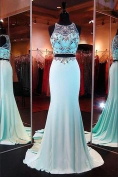 Two Piece Prom Gown,Two Piece Prom Dresses,Evening Gowns,Party Dresses,Evening Gowns,Sparkle Formal Dress For Teens