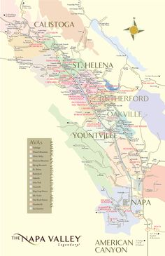 Map of Napa Valley, California with all of the wineries marked - sounds like a good weekend getaway to me!
