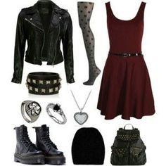 Maroon Dress, Black Leggings, Black Leather Jacket, Black Combat Boots, Black Hipster Hat