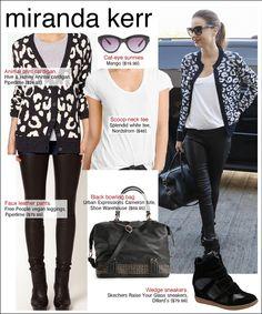 miranda kerr style, miranda kerr leopard, miranda kerr airport, miranda kerr leather pants