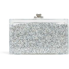 ashlyn'd Diamond Shaker Clutch ($535) ❤ liked on Polyvore featuring bags, handbags, clutches, silver, beaded clutches, kiss lock purse, kisslock handbags, beaded handbags and kiss lock handbags