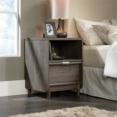 International Lux Night Stand in Fossil Oak - Sauder 418015418015 Features: Tired of your boring old night stand? Take the style up a notch with this bedside table from our sleek International Lux collectionDrawer with metal runners and safety stops featu Bedroom Furniture, Modern Furniture, Bedroom Decor, Furniture Sale, Office Furniture, Outdoor Furniture, 2 Drawer Nightstand, Gray Nightstand, Modern Bedroom