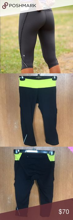 Run Fast Free lululemon crop leggings In AMAZING condition aside from my name writing in sharpie on the inside band. Name does not show through. Worn very few times and no longer sold. Ruffle and reflective strip at bottom. Comment for questions/more pictures! lululemon athletica Pants Leggings