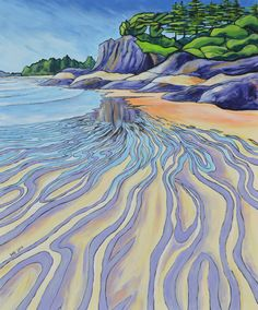 'South Chesterman Beach, Tofino' acrylic on canvas Drawing Painting Images, Sketch Painting, Cool Paintings, Abstract Landscape, Landscape Paintings, Oil Pastel Art, Surf Art, Canadian Artists, Beach Art