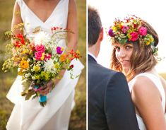 wild flower wedding...love the bouquet but i'm not putting those flowers on my effing head, lol