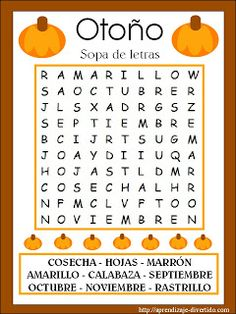 Aprendizaje Divertido: Imprimible: Sopa de letras de otoño Spanish Words, Spanish Lessons, Teaching Spanish, Fall Word Search, Spanish Classroom Activities, Fall Words, Spanish Immersion, Kids English, Worksheets For Kids