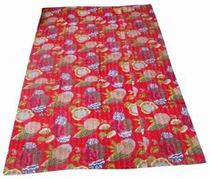 INDIAN HANDMADE FRUIT PRINT KANTHA QUILT BEDDING THROW GUDRI TWIN SIZE BEDSPREAD #Handmade #Traditional