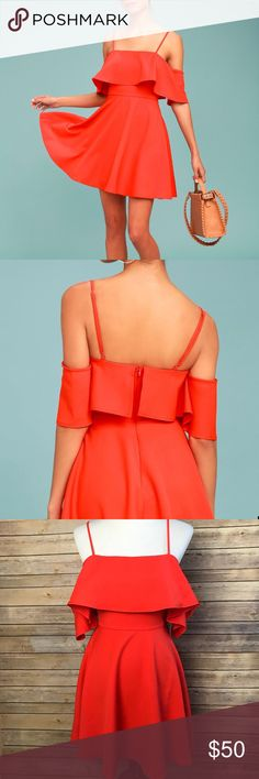 """Lulu's Waterfront Coral Red Off-the-Shoulder Dress NEW Lulu's Small Waterfront Coral Red Off-the-Shoulder Skater Dress  Pit to Pit 17"""" Shoulder to Hem 34"""" Waist 13"""" Lulu's Dresses Mini"""