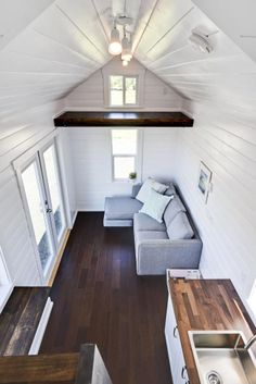 Couch & French Doors - Just Wahls Tiny House. Just add stairs
