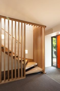 Interior wooden stairs, made of solid oak or beech wood. Solid wood interior stairs made to order according to the requested size and model. Stairs Balusters, Stair Banister, Timber Staircase, Timber Slats, Balustrades, Wooden Staircases, Wood Stairs, Staircase Design, Open Stairs