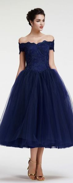 Tea Length Sexy Off Shoulder Sleeves Navy Blue Tulle and Lace Vintage Party Dress
