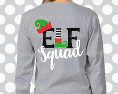 Elf squad svg, elf svg, santa svg, Elves, christmas svg, SVG, DXF, EPS, cute christmas svg, santa hat svg, elf shirt, elf, iron on, digital Print your OWN Stickers or t-shirt!!! Or cut them with your cutter! You can also print it onto an iron on transfer to make a super cute shirt!
