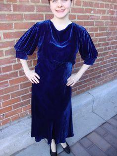 1930s Royal Blue Silk Velvet Old Hollywood Glamorous Starlet Art Deco Dress on Collectors Quest