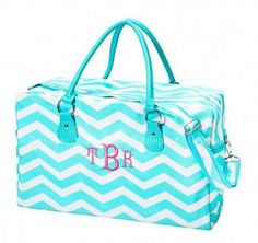 Weekend Carry On Luggage - Monogrammed Chevron