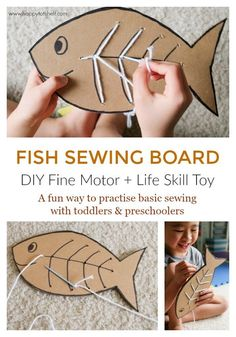 Sewing For Beginners Learning Fish Sewing Board - Sewing Learning Activity for Kids - Happy Tot Shelf - Cutest fish sewing board for kids to learn basic sewing. Important fine motor skill and life skill sewing learning activity for kids. Fish Activities, Life Skills Activities, Learning Activities, Activities For Kids, Sewing Projects For Kids, Sewing For Kids, Diy For Kids, Crafts For Kids, Sewing Ideas