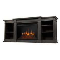 Grand Tv, Fireplace Tv Stand, Fireplace Ideas, Media Electric Fireplace, Vintage Bedroom Furniture, Real Fire, Ship Lap Walls, Adjustable Shelving, Tvs