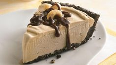 Coffee Ice Cream Pie~Only six ingredients and no baking required! Here's a frosty treat for a hot summer's day.