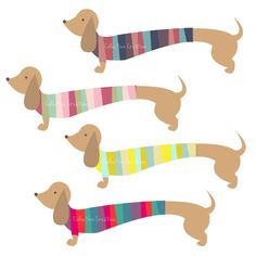 Colorful Dachshunds / Sausage Dogs Digital Clipart - Personal and Commercial Use - Clip Art for Cards, Scrapbooking and Paper Crafts. $3.60, via Etsy.