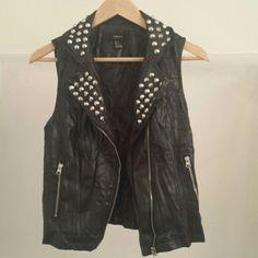 Forever 21 Studded Vest Black pleather studded vest. Forever 21 Jackets & Coats Vests
