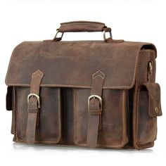 "Vintage Leather Briefcase / Messenger Satchel / 13"" Laptop or 13"" MacBook Air/Pro Bag"