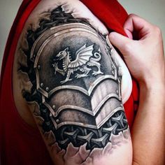 70 Quarter Sleeve Tattoo Designs For Men - Masculine Ink Ideas Quarter Sleeve Tattoos, Full Sleeve Tattoos, Tattoo Sleeve Designs, Tattoo Designs Men, Armour Tattoo, Body Armor Tattoo, Body Art Tattoos, 3d Tattoos, Armor Sleeve Tattoo